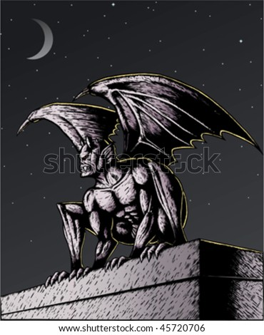 Gargoyle perched atop a building, ready to pounce. With .eps, Gargoyle, wings and buidling are all on separate layers, so can be easily moved or removed.