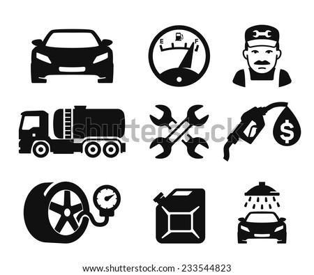 Gas station and Fuel pump icons set // 02
