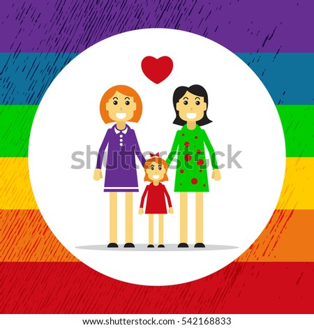 Gay couple with child isolated on white background