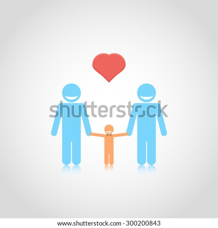 Gay family couple with son, boy, kid. Isolated vector illustration