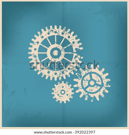 Gear design on old background,grunge vector