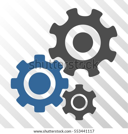 Gear Mechanism vector pictogram. Illustration style is flat iconic bicolor cobalt and gray symbol on a hatch transparent background.