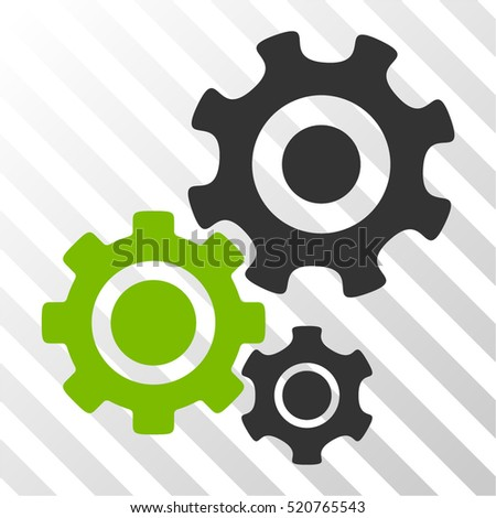 Gear Mechanism vector pictogram. Illustration style is flat iconic bicolor eco green and gray symbol on a hatched transparent background.