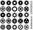Gear wheel collection - vector silhouette - stock photo