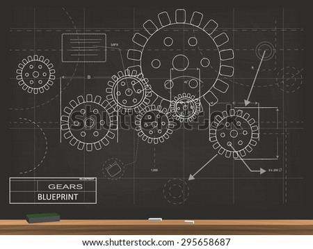 Gold black steampunk gears blueprint vector vectores en stock gears blueprint chalkboard vector illustration malvernweather Image collections