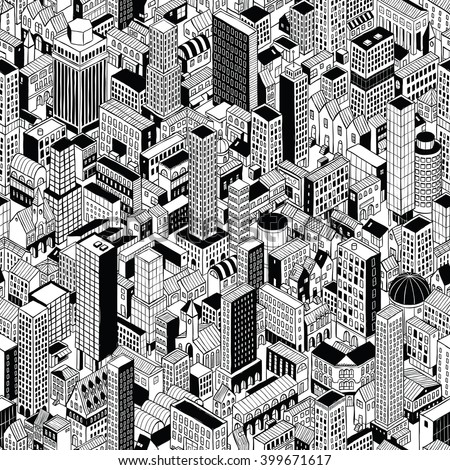 Generic City Seamless Pattern in isometric projection is hand drawing of different buildings (skyscrapers and low-rise). Illustration is in eps8 vector mode, pattern is repetitive.