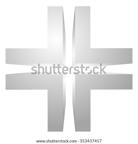 Generic 3d cross icon, double cross design element.
