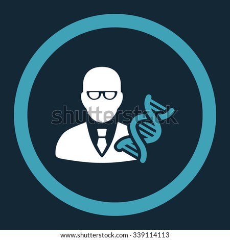 Genetic Engineer vector icon. Style is bicolor flat rounded symbol, blue and white colors, rounded angles, dark blue background.