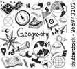 Geography and geology education subject handwriting doodle icon of earth exploration and map design sign and symbol in isolated background paper used for presentation title with header text (vector) - stock photo