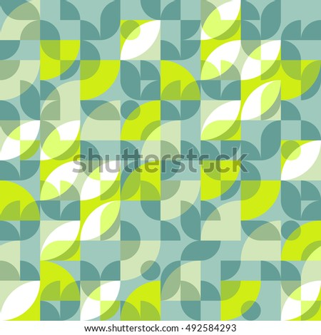 Geometric abstract seamless pattern motif background. Colorful shapes of circles, semicircles and leaves