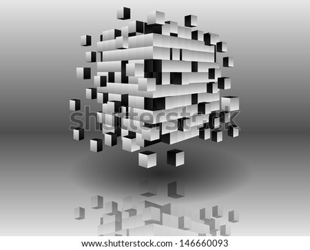 Geometric cube. Abstraction