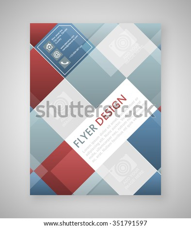 Geometric Flyer Template Design Blue Red Stock Vector