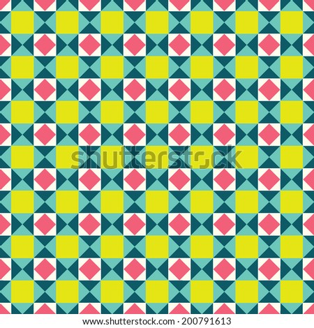 Geometric traditional ornament. Colorful seamless mosaic pattern. Ornamental vector background.