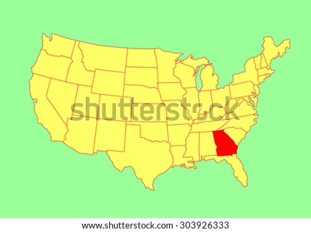 Alabama State Usa Vector Map Isolated Stock Vector - Georgia on usa map