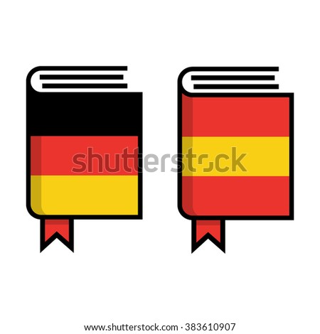 German and Spanish dictionary flat vector icon on white background. Learn foreign language.