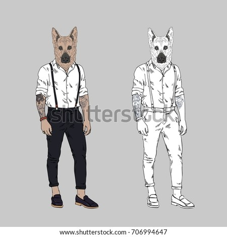 Cat Dressed Swag Style Furry Art Stock Vector 443799244