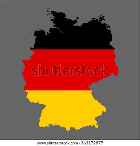 Germany - 3d map and flag