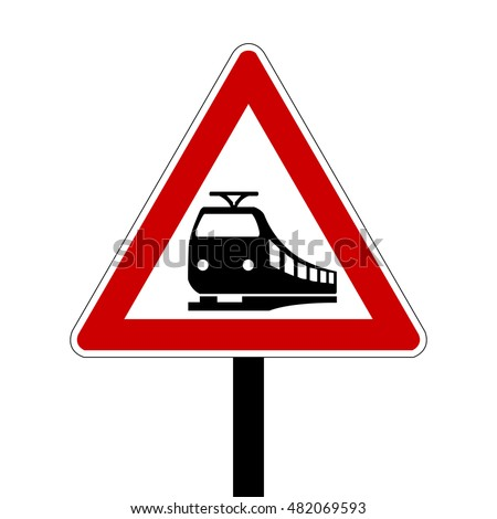 Germany Level Crossing without Barriers Ahead Road Sign