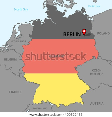 Germany Cold War Map Flags Eastern Stock Vector - Germany map image