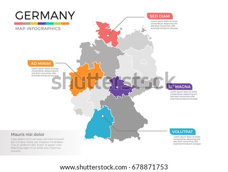Ireland Country Map Infographic Colored Vector Stock Vector - Germany map template