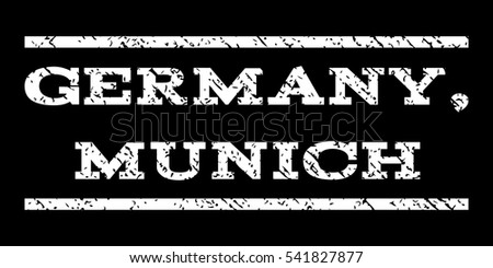 Germany, Munich watermark stamp. Text tag between horizontal parallel lines with grunge design style. Rubber seal stamp with scratched texture. Vector white color ink imprint on a black background.
