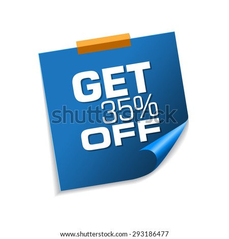 Get 35 percent Blue Sticky Notes Vector Icon Design