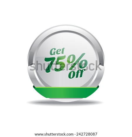 Get 75 Percent Green Vector Icon Button