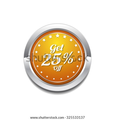 Get 25 Percent Yellow Vector Icon Button