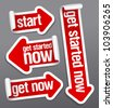 Get started now stickers set. - stock vector