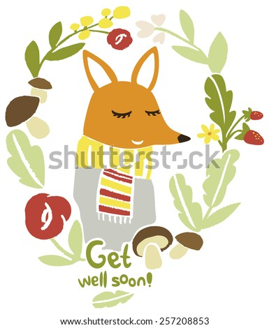 Get well soon wishes postcard. Funny red fox character in a floral frame. Best wishes.