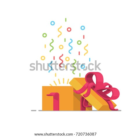 surprising design cool presents. Gift box icon  special present idea Flat design vector illustration Celebration event Box Icon Special Present Idea Stock Vector 721709878
