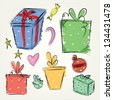 gift box icons vector set - stock vector