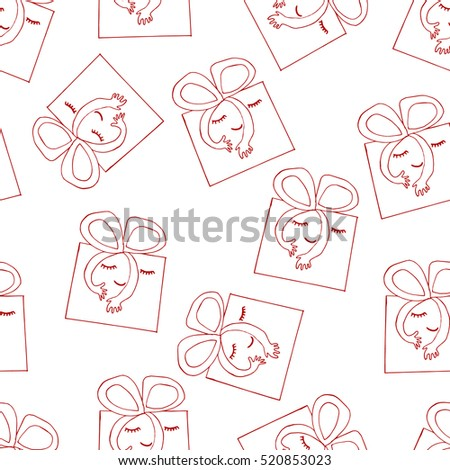 Gift box seamless pattern. Cute gift boxes with face and hands illustration