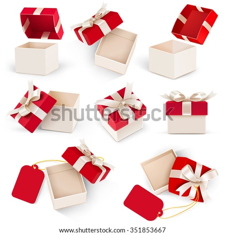 Gift box set with bow and label on white background. Vector illustration