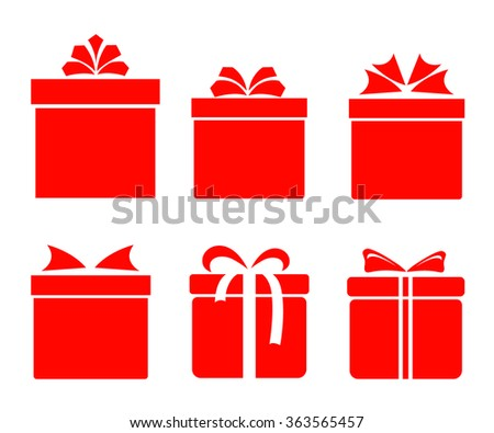 gift boxes icons set with bows and ribbons on white background vector illustration