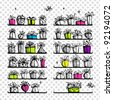 Gift boxes on shelves, sketch drawing for your design - stock vector