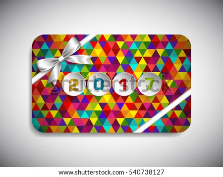 Gift card of Happy new year 2017 Text Design vector.