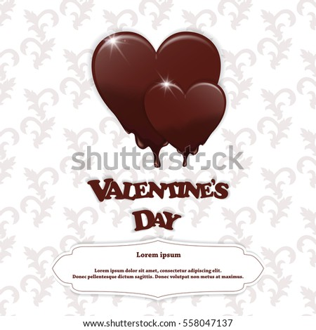 Wedding Gift Card Inscriptions : Gift Card Chocolate Melting Hearts Valentines Stock Vector 558057235 ...