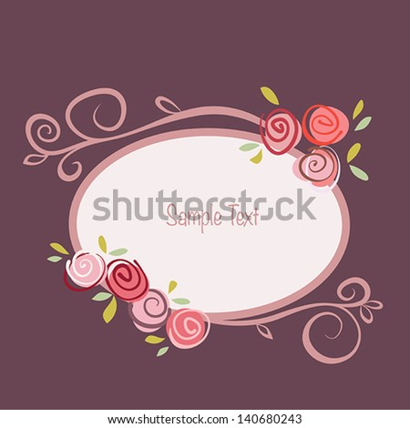 stock-vector-gift-card-with-roses-flowers-and-ornated-frame-vector-eps ...