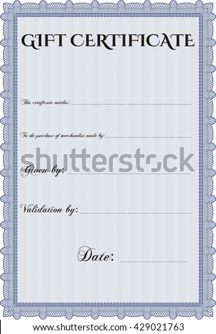 Gift certificate template detailed printer friendly stock vector gift certificate template printer friendly detailed complex design yelopaper Image collections