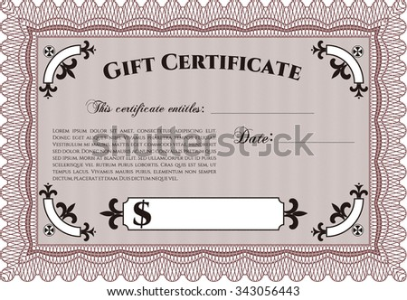 dollar certificate template - clear 1 dollar banknote pattern design stock illustration