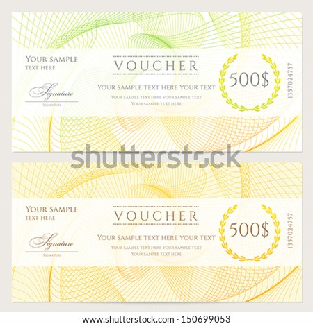 Voucher Gift Certificate Coupon Ticket Template Vector – Money Note Template