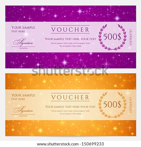Voucher Gift Certificate Coupon Template Floral Vector – Template Voucher