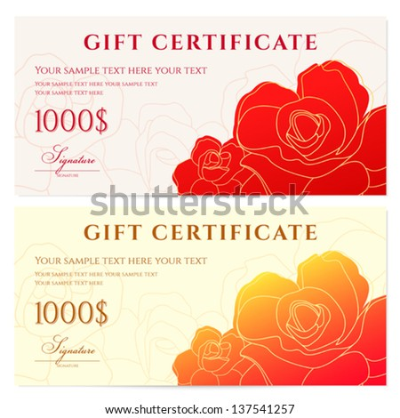 Vector floral gift voucher background template stock for Gift certificate template with logo