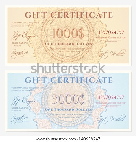 Gift Certificate / Voucher Template With Guilloche Pattern (watermarks) And  Border. Background For