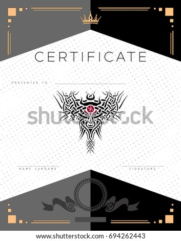 Gift certificate diploma award template border stock vector gift vector luxury certificate diploma award template with border and celtic pattern dots yadclub Images
