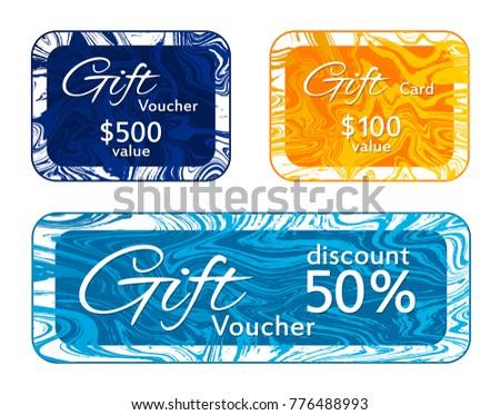 gift voucher card templates vector set marble frames liquid design collection vip 50 - Discount Photo Frames