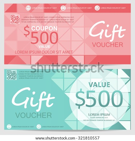Gift Voucher Certificate Coupon Template Luxury Stock Vector