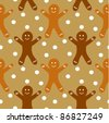 Gingerbread man seamless pattern - stock photo