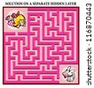 Girl and Puppy Maze Game - help little girl find her lost puppy: Maze puzzle with solution - stock vector